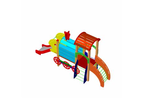 Детский игровой комплекс ДИК11«Паровозик с горкой и вагончиком»