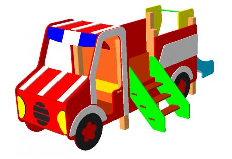 Детский игровой комплекс «Машинка пожарная с горкой»